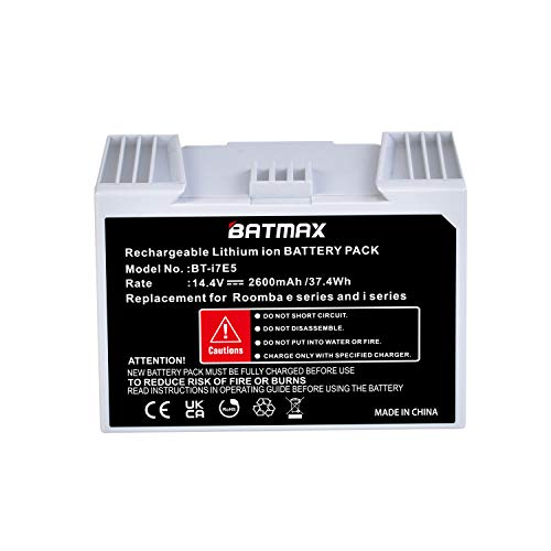 Batmax 1Pc 14.4V 2600mAh Rechargeable Battery for iRobot Roomba e and i Series; Roomba i7,i7+, i8,e6, Roomba e5 7150, 7550, 5150, e5152, e5154; Roomba e5150,Roomba e515020