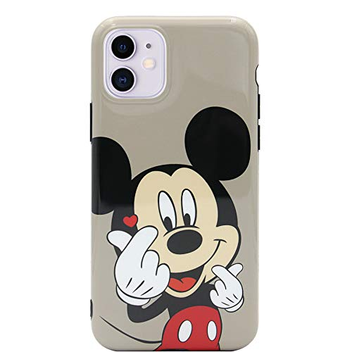 MC Fashion iPhone 11 Case, Cute Vibrant Glossy IMD Finger Heart Cartoon Characters Case, Slim Fit Black Bumper Full-Body Soft Protective TPU Case for Apple iPhone 11 6.1 inch 2019 (Mickey Mouse)