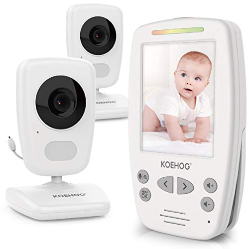 Baby Monitor w/ 2 Cam, Spectacular Vertical Screen, Comfort-Designed Handheld, 1000ft Range, Secure Wireless Technology, Auto Ninght Vision Cam, Temperaure Alert.