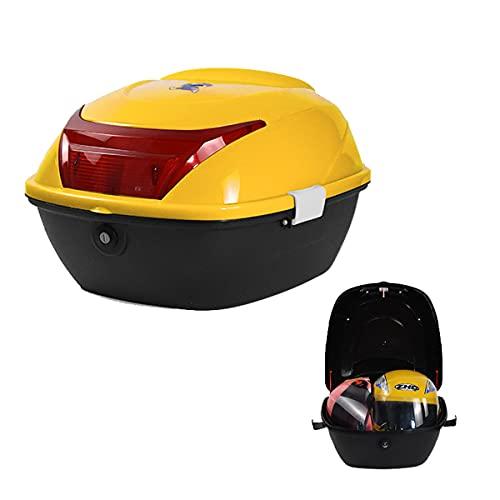 GELEI Motocicleta Tour Tail Box Scooter Trunk Equipaje Top Lock Storage Carrier Case con Respaldo Suave Y Sistema De Liberación Rápida - Capacidad 32L - Puede Almacenar (2) Casco,Yellow a