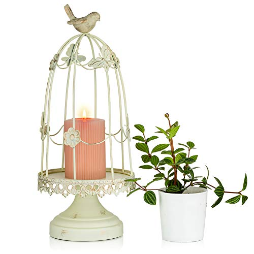 Sziqiqi Decorative Bird Cage Candleholder for Antique Decor, Fit for Flowers Planter Candles Garland Cupcake Display for Wedding Centerpiece Holiday Decoration, Distressed Ivory 38cm/15 inch