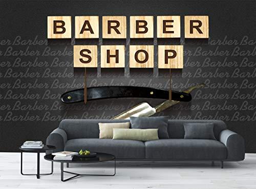 Fototapete Barber Shop Concept Wall Mural Wand B 366 cm x H 254 cm Wanddekoration Tapeten Wandbilder Bild Riesenposter Holz Würfel