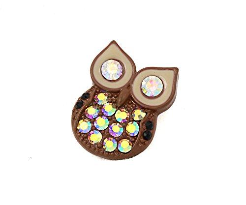 Sekka jewelry bague originale très extravagante de style moderne-boutons pression chunk komik rétro motif de chouette avec strass
