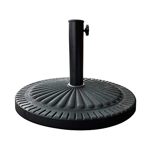 Janoon 14kg Heavy Duty Black Parasol Base Garden Umbrella Stand Round Victorian Style Cast Iron Effect By Crystals®