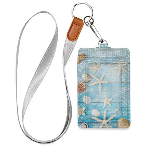 Starfish Blue ID Badge Credit Card Holder Case PU Leather with 1 ID Window 2 Card Slots and Detachable Neck Lanyard for ID Driver Licence Women Men Teen Office (2.7' x 4.3')