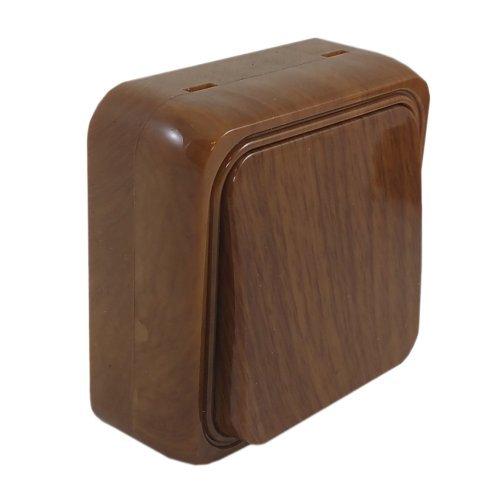 SPIN Interruptor fino de 1 fase, diseño moderno, color marrón, interruptor de superficie, plástico resistente al fuego, caoba