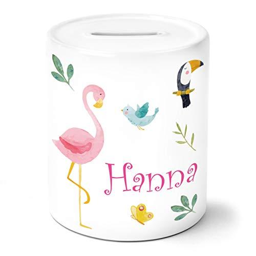 OWLBOOK Safari Flamingo Kinder Spardose Personalisiert mit Namen Geschenke Geschenkideen für Mädchen zum Geburtstag Weihnachten Einschulung Taufe Geburt Sparschwein