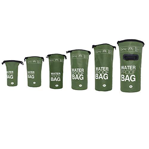 DonDon wasserdichter Outdoor Dry Bag Beutel Sack Trockentasche Trockenbeutel mit Riemen Oliv 15 Liter