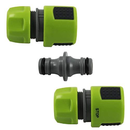 com-four® 3er Set Gartenschlauch-Verbinder - Wasserstop, Schlauchstück, Verbindungsstück - Schlauchkupplung - 13 mm, 1/2