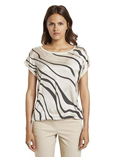 TOM TAILOR Damen Fabrix-Mix T-Shirt, 23304-soft Vanilla, XXL