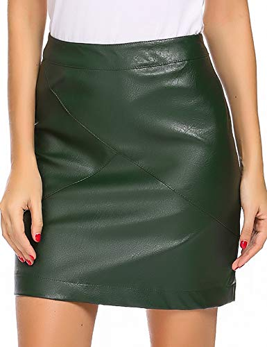 Zeagoo Women Classic High Waisted Faux Leather Bodycon Slim Mini Pencil Skirt(Dark Green S)