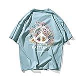 COCOCOOL Camisas Casuales para Hombre Imprimieron Manga Corta Regular tamaño Grande Top Camisetas Blue-M