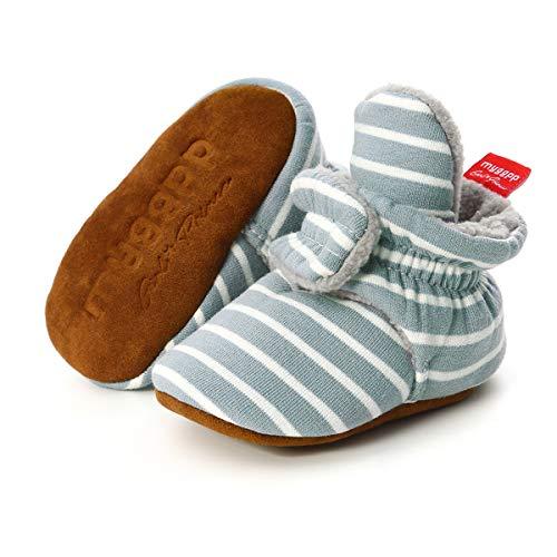 BENHERO Botas de inverno para bebês meninos e meninas, antiderrapantes, botas de inverno com adereços, meias para recém-nascidos, berço, casa, D-blue White, 12 Months-18 Months Toddler