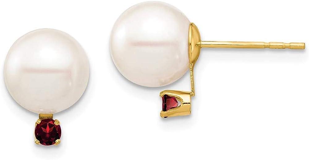 14K 8-8.5mm White Round Freshwater Cultured Pearl Garnet Post Earrings 11.06mm style XF754E/GA