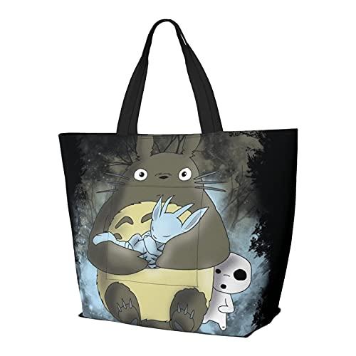 Anime My Totoro - Bolso de mano con asa de hombro, estilo simplicidad, gran capacidad, bolsa de compras, gimnasio, playa, viajes, diario, unisex, plegable