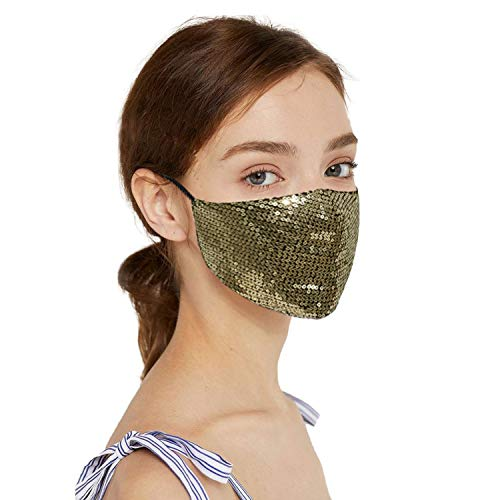 Sparkly Sequin Face Mask for Women Girls, Cotton Fashion Decorative Party Bling Face Mask With Designs, Shiny Glitter Face Mask Adjustable Ear Loops (Gold)