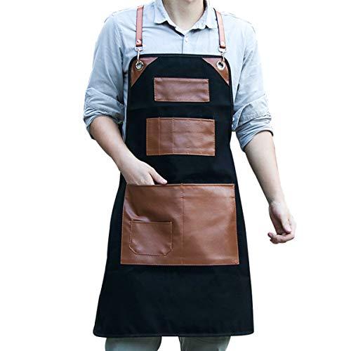 Grembiule Da Lavoro Elegante Durevole Denim Caffè/Chef/Grembiule Da Lavoro, Tasche E Portapenne, Vita Regolabile Fascette Da Collo in Pelle & Tool Grembiuli Per Donne Uomini,Nero