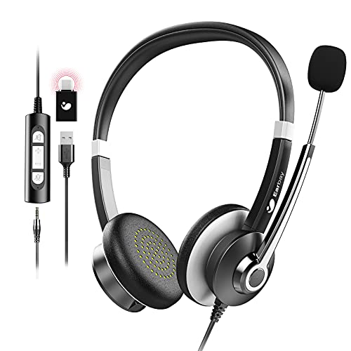USB Headset With Microphone For Laptop, 3.5mm Jack On-Ear Headphones With Mic Noise Cancelling For PC, Wired Computer Headsets USB Type-C Adapter For Cell Phone/Call Center/Skype/Zoom/Webinar/Ms Teams