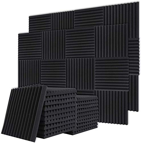 Nisorpa 24 Packs Acoustic Foam Panels Studio Sound Panels Wedge Tiles Fireproof Soundproofing Noise Cancelling Foam Better Sound For Home Studios,YouTubers,Podcasting,Sound Recording 30x30x2.5cm