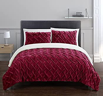 Chic Home Naama 3 Piece Comforter Set Ultra Plush Micro Mink Criss Cross Pinch Pleat Sherpa Lined Bedding King Red