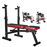 OTEKSPORT Weight Bench with Adjustable Barbell Rack, Multi-Functional Fitness Equipment, Folding Bench Press for Home Strength Training, Full Body Workout