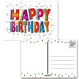 Happy Birthday Postcards - 4 x 6 Birthday Postcards - 50 Fun Birthday Cards