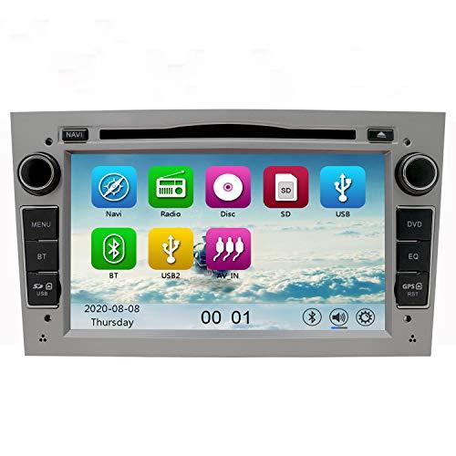NVGOTEV Auto Audio Stereo Kopfeinheit passt für Opel Vauxhall DVD Player 7 Zoll HD Touchscreen GPS Navigation mit BT Lenkradsteuerung (Grau)
