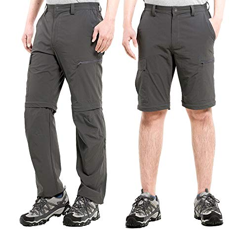 Cycorld Men's Hiking Pants Outdoor Convertible Lightweight Quick Dry Pant Cargo Pockets Stretch Zip Off 3 in 1 Summer Pant Dark Grey