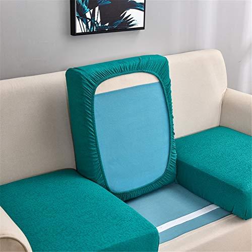 Fundas de cojín de sofá impermeables, fundas de cojín de sofá, fundas de cojín de sofá, elásticas gruesas para cojines individuales (verde azulado, funda de respaldo)