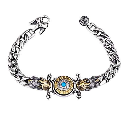 Pulseras Pixiu Plata De Ley 925 Bracelet Pulsera para Hombres Feng Shui Buena Suerte Charms Jewelry con Caja De Regalo, 22cm,54.7g