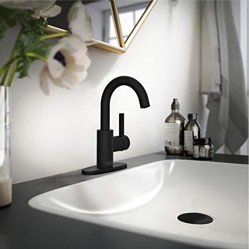 Jacuzzi Duncan Matte Black 1-Handle 4-in Centerset WaterSense Bathroom Sink Faucet with Drain