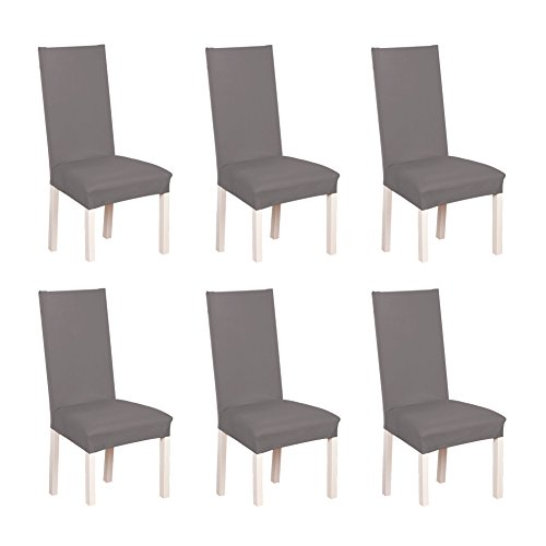 S.D. Maket Hermosa Vida* 6pcs elásticas Fundas para sillas de Salon, Cubierta de Asiento Funda de Silla Comedor Spandex Poliéster (Gris)