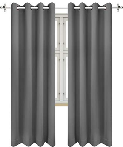 Utopia Bedding 2 Panels Grommet Blackout Curtains Thermal Insulated for Bedroom, W52 x L84 Inches, Grey