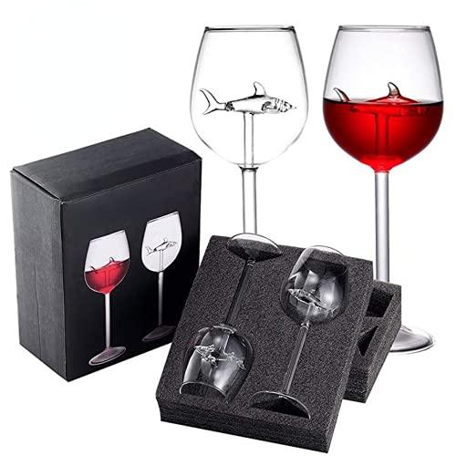 Arontome, calici da vino rosso in vetro, con squalo all'interno, calici da vino, per casa, bar, feste, feste