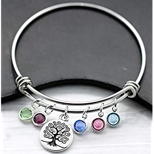 Family Tree Birthstone Bangle Bracelet for Mom – Up to 9 Birthstones