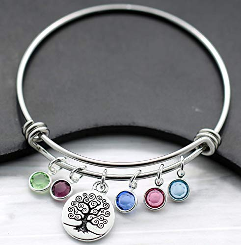 Family Tree Birthstone Bangle Bracelet for Mom - Up to 9 Birthstones