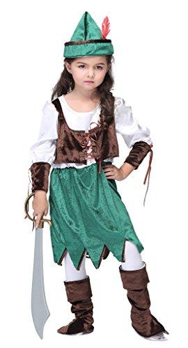 Bigood Costumes Déguisement Cospaly Pirate Rétro pour Enfant Fille pour Halloween XL