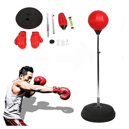 Yosoo Punchingball Erwachsene Boxtraining Set mit Boxhandschuhen und Ständer Verstellbar Höhe 120-150 cm Rot