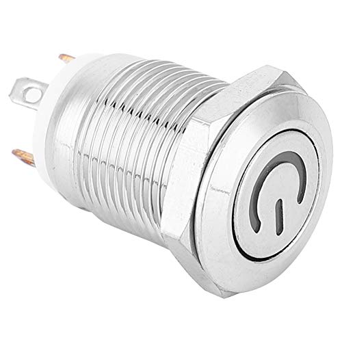 SANON 12Mm Metallknopfschalter mit Netzsymbol Weiß LED-Licht Selbst Zurücksetzen 1 Kein Schalter