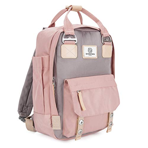 SEVENTEEN LONDON – Urban Pink & Grey 'Camden' Backpack with a Modern, Multi-Wearable Design – Fits Laptop up to 13""