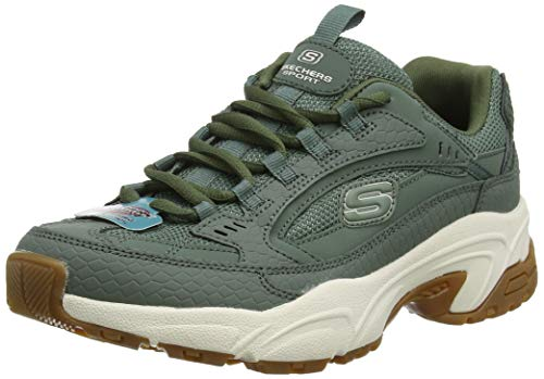 Skechers Women's STAMINA-CLASSY TRAIL Trainers, Green (Olive Suede/Mesh/Off White & Gum Trim Old), 5 (38 EU)