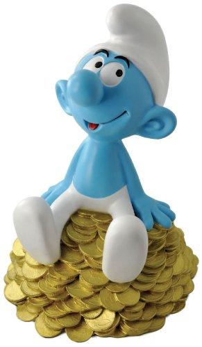 Smurf Money Bank Mustard - Figura de pitufo Sentado en una Pila de Dinero