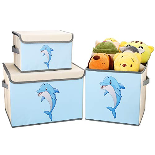 DIMJ 3 Pack Kids Storage Box Fabric Animal Toy Box Foldable Cartoon Toy Organizer Box with Lid and Reinforce Handle Toy Container for Books, Closet, Bedroom, Home (Beige)