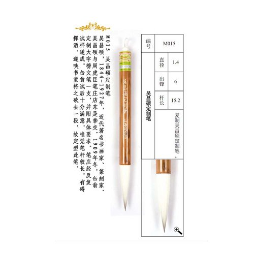 1.4x6cm Wuchangshuo Tailor-Made Mixed Hair Zhouhuchen Tiger Chinese Calligraphy and Painting Brush