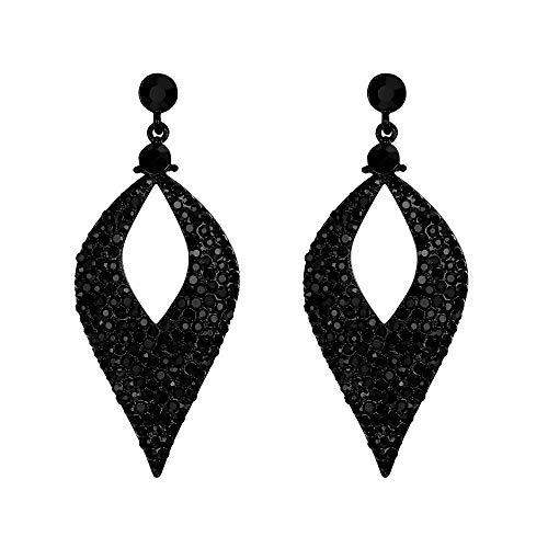 BriLove Wedding Earrings for Women Crystal Hollow Leaf Chandelier Earrings Black Black-Tone