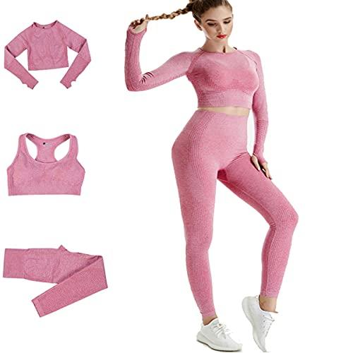 Conjunto Yoga 3 Piezas Ropa Fitness , Pantalones De Yoga Súper Elásticos Sin Costuras+Bralette Para Mujer+Camiseta Deportiva De Manga Larga Sin Costuras Mujer Rosa Rosa S