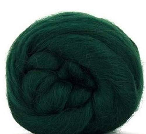 4 oz Paradise Fibers Conifer (Green) Corriedale Top Spinning Fiber Luxuriously Soft Wool Top Roving for Spinning with Spindle or Wheel, Felting, Blending and Weaving