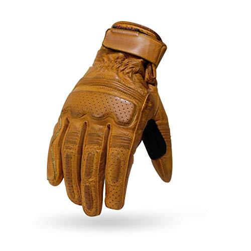 Guantes de piel para hombre Torc TG Fullerton Gold amarillos Biker Motociclista Moto Harley y Custom Otoñales Primaverales Talla XS