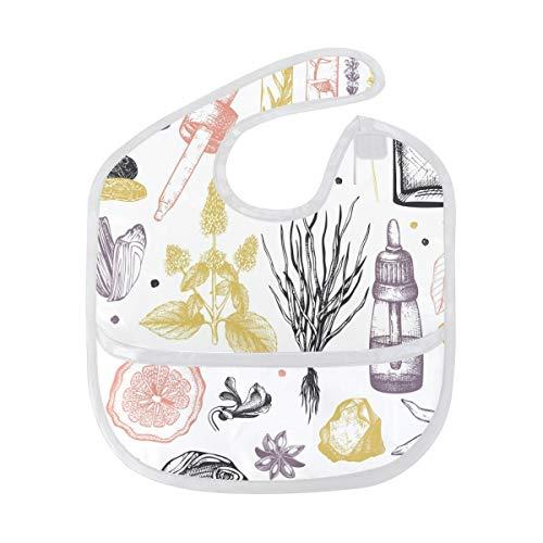 DEZIRO Baby Drooler Bib Cartoon flessen en planten Waterdichte Baby Bib Wasbaar Vlek en Geurbestendig