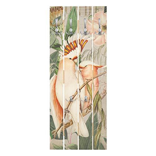 Bilderwelten Perchero de Madera - Colonial Style Collage - Galah - Ganchos cromados 100x40cm